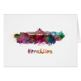 Heraklion skyline in watercolor card