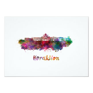 Heraklion skyline in watercolor card