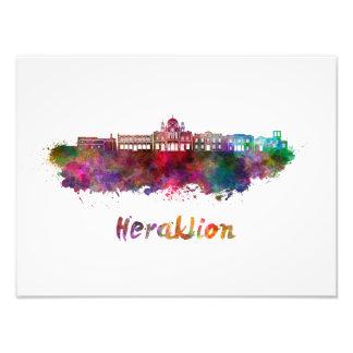 Heraklion skyline in watercolor photo print