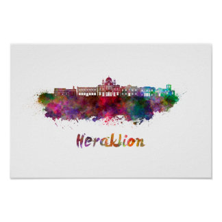 Heraklion skyline in watercolor poster