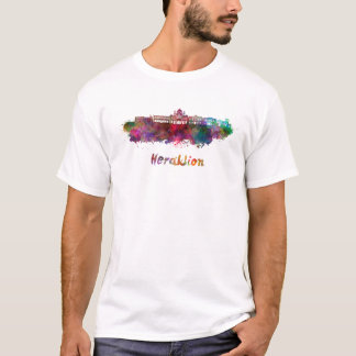 Heraklion skyline in watercolor T-Shirt