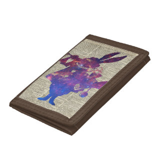 Herald Purple Rabbit Stencil Over Old Book Page Tri-fold Wallets