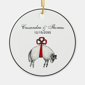 Heraldic Banded Fleece Ram Sheep Crest Emblem Ceramic Ornament