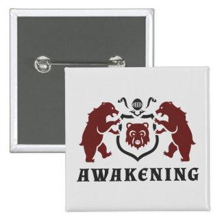 Heraldic Bears Awakening Blazon 2 Inch Square Button