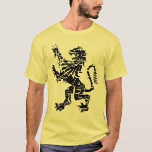 Heraldic Black Rampant Lion - T-Shirt