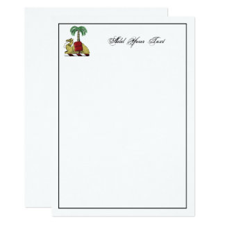 Heraldic Camel Palm Tree Color Coat of Arms Card