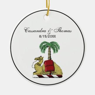 Heraldic Camel Palm Tree Color Coat of Arms Ceramic Ornament