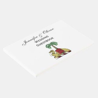 Heraldic Camel Palm Tree Color Coat of Arms Guest Book