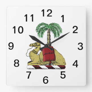 Heraldic Camel Palm Tree Color Coat of Arms Square Wall Clock