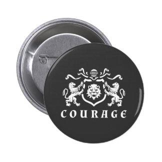 Heraldic Courage Lions Blazon 2 Inch Round Button