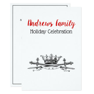 Heraldic Crown Crossed Swords Saber Christmas Xmas Card