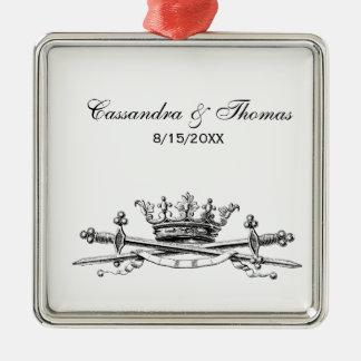 Heraldic Crown Crossed Swords Sabers Emblem Crest Metal Ornament