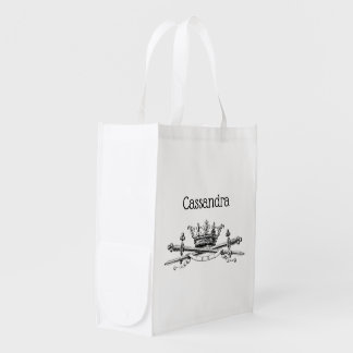 Heraldic Crown Crossed Swords Sabers Emblem Crest Reusable Grocery Bag