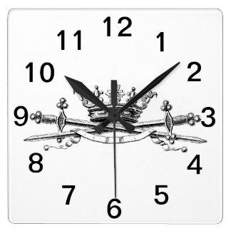 Heraldic Crown Crossed Swords Sabers Emblem Crest Square Wall Clock
