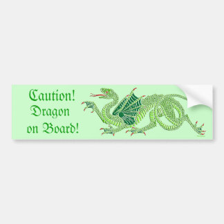 Heraldic Dragon (Green) - Bumper Sticker Car Bumper Sticker