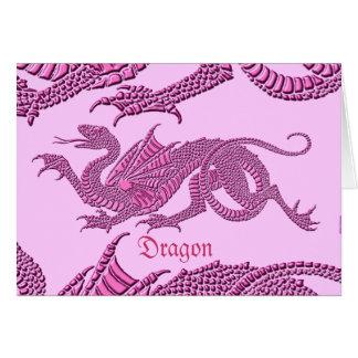 Heraldic Dragon (Pink) - Note Card