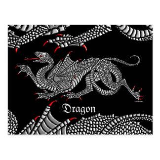 Heraldic Dragon (Silver) - Postcard