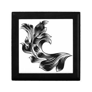 Heraldic Floral Filigree Pattern Scroll Design Gift Box