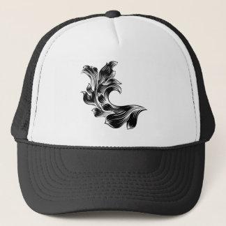 Heraldic Floral Filigree Pattern Scroll Design Trucker Hat