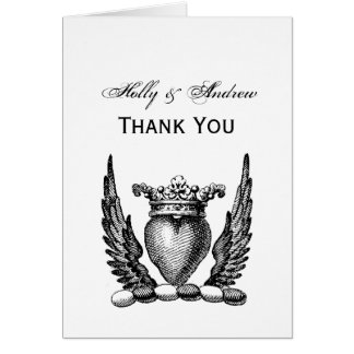 Heraldic Heart with Wings Coat of Arms Crest Card