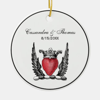 Heraldic Heart with Wings Coat of Arms Crest Ceramic Ornament