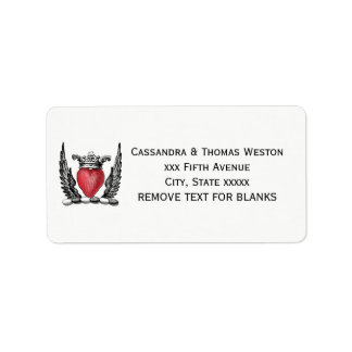 Heraldic Heart with Wings Coat of Arms Crest Label