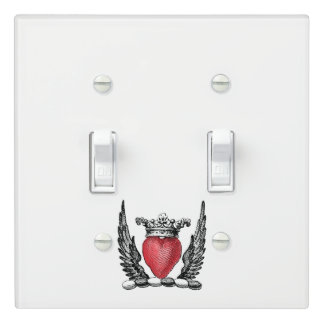 Heraldic Heart with Wings Coat of Arms Crest Light Switch Cover