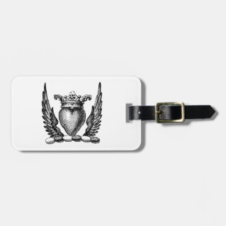 Heraldic Heart with Wings Coat of Arms Crest Luggage Tag