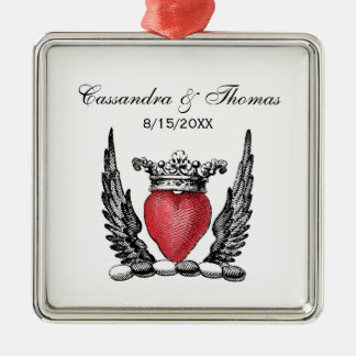 Heraldic Heart with Wings Coat of Arms Crest Metal Ornament
