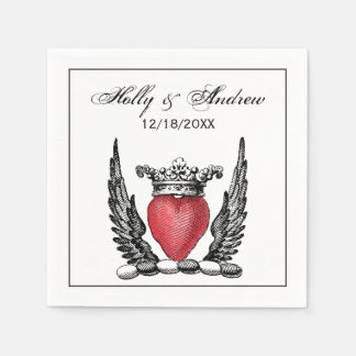 Heraldic Heart with Wings Coat of Arms Crest Paper Napkins