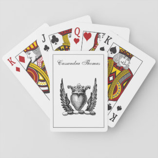 Heraldic Heart with Wings Coat of Arms Crest Playing Cards