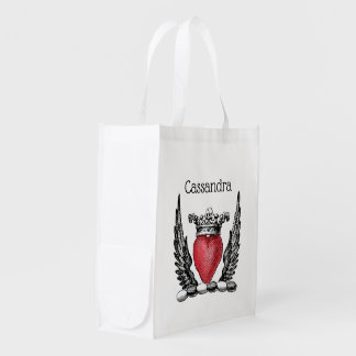 Heraldic Heart with Wings Coat of Arms Crest Reusable Grocery Bag