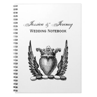 Heraldic Heart with Wings Coat of Arms Crest Spiral Notebooks