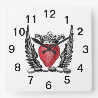 Heraldic Heart with Wings Coat of Arms Crest Square Wall Clock