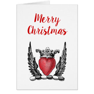 Heraldic Heart with Wings Crest Christmas Xmas Card