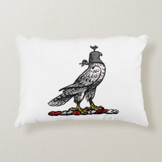 Heraldic Hunting Falcon Wearing Helmet Hood C Decorative Pillow