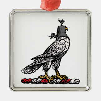 Heraldic Hunting Falcon Wearing Helmet Hood C Metal Ornament