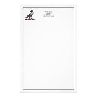 Heraldic Hunting Falcon Wearing Helmet Hood C Stationery