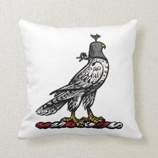 Heraldic Hunting Falcon Wearing Helmet Hood C Throw Pillow