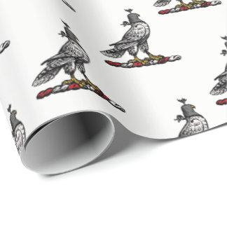 Heraldic Hunting Falcon Wearing Helmet Hood C Wrapping Paper