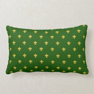 Heraldic Lilly on Green Background Lumbar Pillow