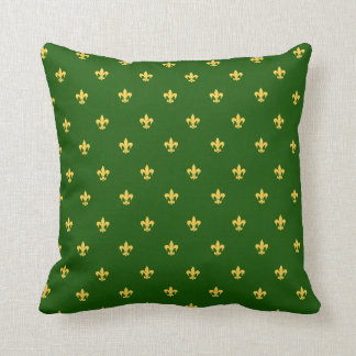 Heraldic Lilly on Green Background Throw Pillow