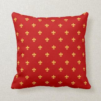 Heraldic Lilly on Royal Red Background Throw Pillow