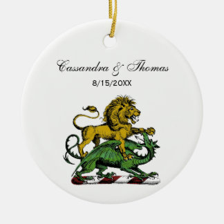 Heraldic Lion and Dragon Crest Emblem Ceramic Ornament