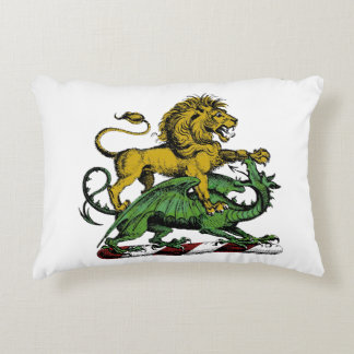 Heraldic Lion and Dragon Crest Emblem Decorative Pillow