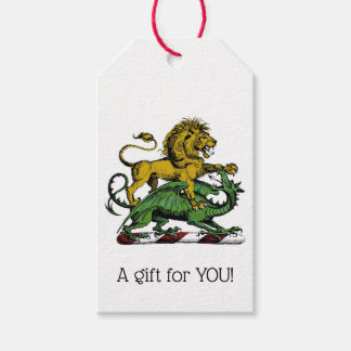 Heraldic Lion and Dragon Crest Emblem Gift Tags