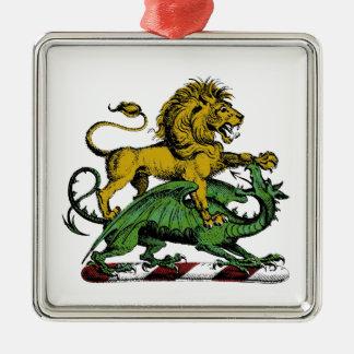 Heraldic Lion and Dragon Crest Emblem Metal Ornament
