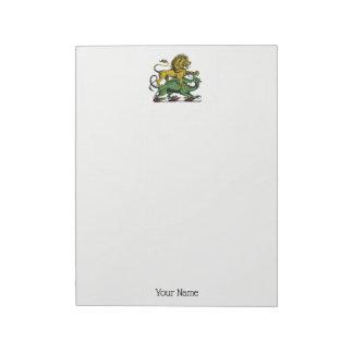 Heraldic Lion and Dragon Crest Emblem Notepad