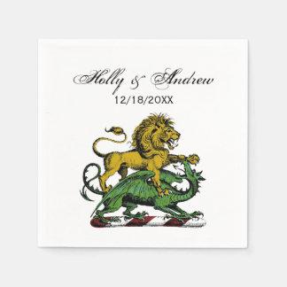 Heraldic Lion and Dragon Crest Emblem Paper Napkin