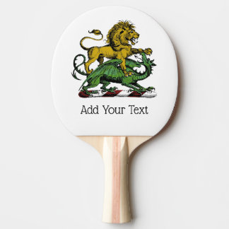 Heraldic Lion and Dragon Crest Emblem Ping Pong Paddle